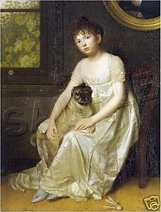 1810 REGENCY VICTORIAN Girl PUG Dog CANVAS Art ~ LARGE