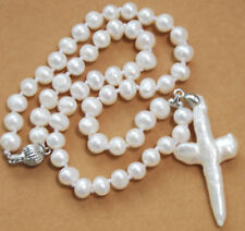 Natural 7-8mm White Akoya Cultured Pearl Baroque Cross Pendant Necklace