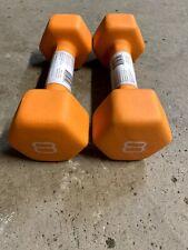 CAP Pair 8LB Neoprene Hex Dumbbell Hand Weight (16lbs Total) - Orange - New