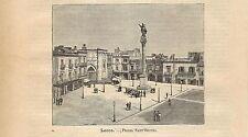 Stampa antica LECCE veduta Piazza Sant'Oronzo Puglia 1891 Old antique print