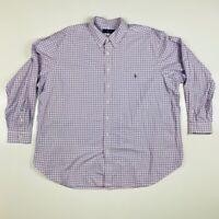 Ralph Lauren Mens Oxford Shirt Blue White Tattersall Long Sleeve Big & Tall 3XLB