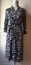 Hobbs Size 12 Black And White Jersey Wrap Dress.