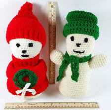 2 Handmade Crochet Snowmen 10' Tall Removable Hats Snowman