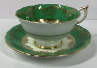Vintage Paragon Tea Cup & Saucer Green & Gold Double Warrant