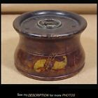 Great 18 19th C Primitive Treenware Wooden Inkwell Grain Painted   Decorated