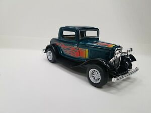 1932 Ford 3 window coupe green fire kinsmart TOY model 1/34 scale diecast Car
