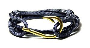 Nautical Fish Hook Bracelet Gray Black Vintage Adjustable Hand Made USA