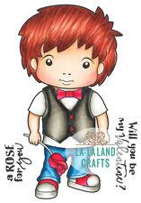 LUKA WITH ROSE-La-La Land Crafts Cling Rubber Stamp-Stamping Craft-Cardmaking