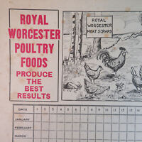 """1940's? Royal Worcester Poultry Egg Count Calendar Advertisement 14""""x11"""""""