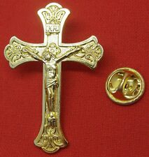 Large Gold-Coloured Crucifix Lapel Pin Badge Catholic Holy Cross Brooch INRI