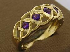 R090- Genuine 9ct SOLID GOLD Filligree CELTIC Natural Amethyst Ring Size N