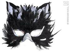 Black Feathered Cat Mask Witches Cat Masquerade Ball Fancy Dress