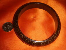 New Zealand, Maori Wooden Bangle, inlay mother-of-pearl decoration, nice used