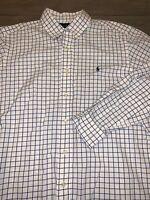 Mens RALPH LAUREN POLO Button Down Shirt White Blue Size L
