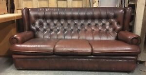 Chesterfield 3 Seat Sofa in Brown Leather. Queen Anne Style with Button Back