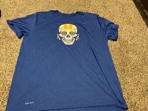 Nike Los Angeles Rams The Nike Tee Dri-Fit Shirt Skull Men's Size: 4XL NWOT Blue