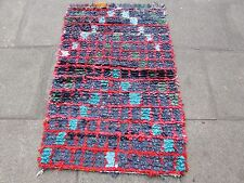 Old Hand Made Moroccan Boucherouite Cotton Fabric Colourful Rug 136x89cm