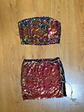WOWO CLUB PARTY 2 PIECE SEQUIN OUTFIT SIZE XS-S!!SEXY HOT YUMMY!😘🔥😘
