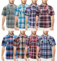 Men's  Western Button Down Short Sleeve Casual Plaid Pattern Cowboy Dress Shirt