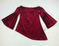 NY Collection Womens Top Off The Shoulder Bell Sleeve Velvet Red Medium