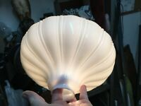 Vintage Antique Ribbed Milk Glass Torch Lamp Shade Bowl 10.5in 2in Fitter
