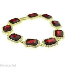 """Red Ruby Gold Tone Iced-Out Rubies Hip Hop Stone Bling Bracelet Men's 9"""" Inch"""