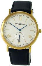 PREDIAL Herrenuhr Edelstahl gold IP blau kleine Sekunde Saphirglas dress watch