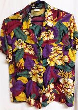 Sag Harbor Multi Color Floral Blouse-Red,Purple,Green,Yellow Size M-Hawaiian