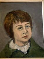Vintage Painting Oil on Canvas Portrait No Signed Wood Frame Free Shipping