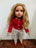 """Geoffrey Journey Girls Blonde Hair Blue Eyes Full Holiday Outfit 2015 Doll 18"""""""