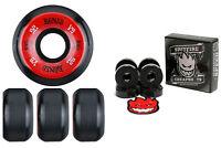 Bones Wheels 100's Black 52mm Conical V5 + FREE Spitfire Skateboard Bearings