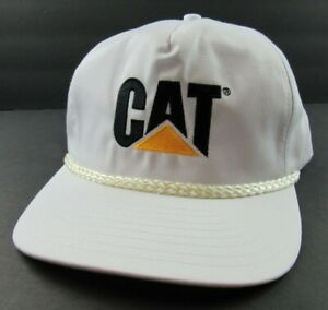 Vintage CAT Snapback Hat Cap Rare Caterpillar White