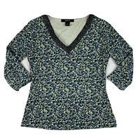 Style & Co. Women Medium V Neck 3/4 Sleeve Career Blouse Top Stretch Blue