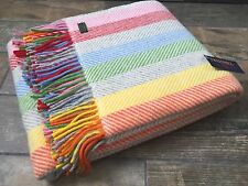 TWEEDMILL TEXTILES PURE WOOL RAINBOW GREY YELLOW PINK CANDY STRIPE BLANKET THROW