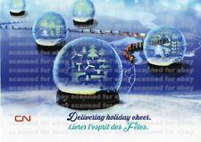 3 UNUSED CN RAIL CHRISTMAS CARDS Canadian National 2015 holiday train snow globe