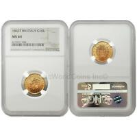 Italy 1863 T BN 10 Lire Gold NGC MS64
