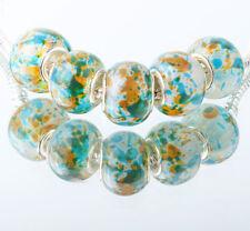 5pcs SILVER MURANO GLASS BEAD LAMPWORK fit European Charm Bracelet DIY #B332