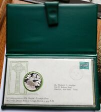 1975 St. Patrick's Day Proof Silver Medal and Cachet Set Commemorative, Case