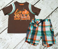 Old Navy Boys La Jolla Surf Brown Tee and Orange Plaid Shorts 18-24 2 2T Euc