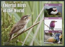 Palau 2017 MNH Colorful Birds of World Roller Puffins 3v M/S I Bird Stamps