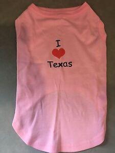 "Mirage Pet I Love Texas Screen Print Dog Shirt Pink 16"" Large"