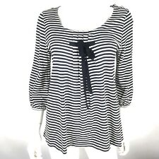 Per Se Womens Large Striped 3/4 Sleeve Pleated Scoop Neck Bow Tie Blouse Top