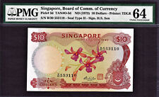 Singapore $10 Orchid Series ND (1973) Signature- HSS Pick-3d CH UNC PMG 64