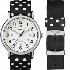 "Timex TW2P86600, Unisex ""Weekender"" Black Fabric Strap Watch, Indiglo"