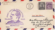 POSTAL HISTORY-EVENT COVER 1933 POST OFFICE DEDICATION NILES, OH McKINLEY BORN
