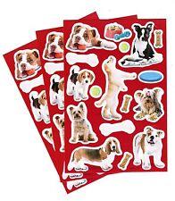 3 Sheets Adorable Puppy Dog Bones Toys Bulldog Terrier Lab Scrapbook Stickers