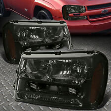 For 2002-2009 Chevy Trailblazer Smoked Housing Amber Corner Headlight/Lamp Set