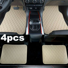 4pcsset Beige Pu Leather Universal Car Floor Mats Waterproof Non Slip Carpets Fits 2007 Sportage
