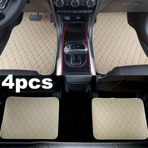 4pcs/set Beige PU Leather Universal Car Floor Mats Waterproof Non-slip Carpets