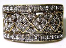 Striking 0.25ct Diamond 9ct Yellow Gold Wide Band Ring Q ~ 8 1/4